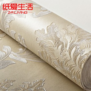 欧式无纺布精致仿刺绣浮雕立体壁纸