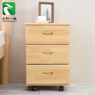 实木移动床头柜