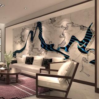 客厅电视背景墙中式山水墙画壁布无缝定制沙发背景墙纸水墨壁画