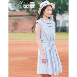 2016夏装新款短袖花边文艺抽绳收腰连衣裙