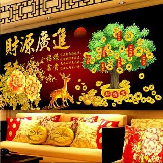 2017新款财源广进麋鹿发财树客厅餐厅十字绣